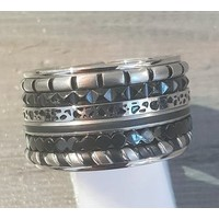 IXXXI JEWELRY RINGEN iXXXi COMBINATION RING 14mm SILVER 1059 SPOTS SILVER