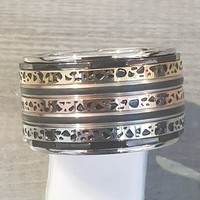 IXXXI JEWELRY RINGEN iXXXi COMBINATION RING 14mm SILVER 1060 SPOTS TRICOLLOR