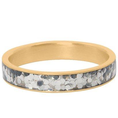 IXXXI JEWELRY RINGEN iXXXi Jewelry Ring 4mm GLITTER CONFETTI GOLD Stainless steel