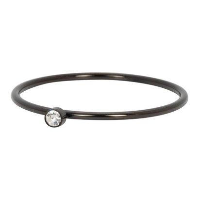 IXXXI JEWELRY RINGEN iXXXi Jewelry Ring 1mm ZIRCONIA 1 STONE BLACK Stainless steel