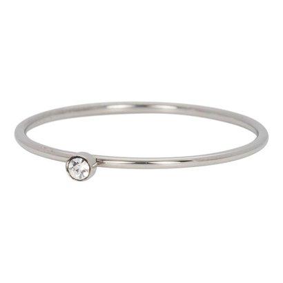 IXXXI JEWELRY RINGEN iXXXi Jewelry Ring 1mm ZIRCONIA 1 STONE SILVER Stainless steel