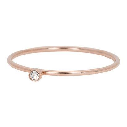 IXXXI JEWELRY RINGEN iXXXi Jewelry Ring 1mm ZIRCONIA 1 STONE ROSE Stainless steel
