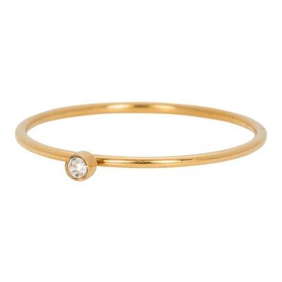 IXXXI JEWELRY RINGEN iXXXi Jewelry Ring 1mm ZIRCONIA 1 STONE GOLD STAINLESS STEEL
