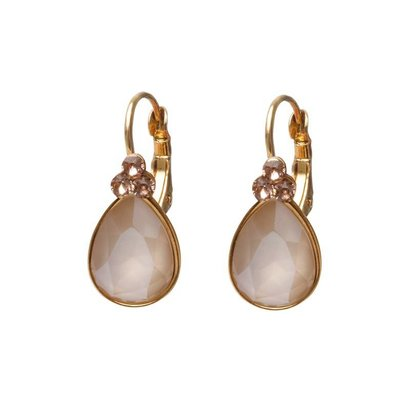 BIBA OORBELLEN Biba teardrop earrings Gold or Silver with Cream Swarovskisteen