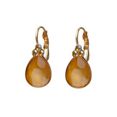 BIBA OORBELLEN Biba Tropfen Ohrringe Gold oder Silber mit Butterblume Swarovskisteen