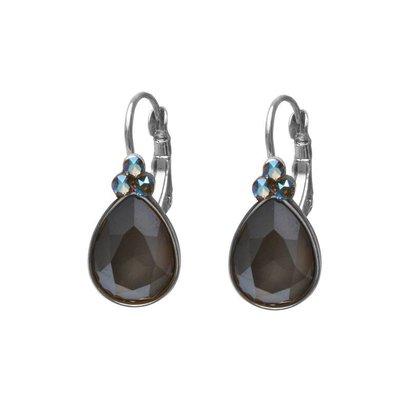 BIBA OORBELLEN Biba druppelvormige oorhangers  Goud of Zilverkleurig met Dark Grey Swarovskisteen