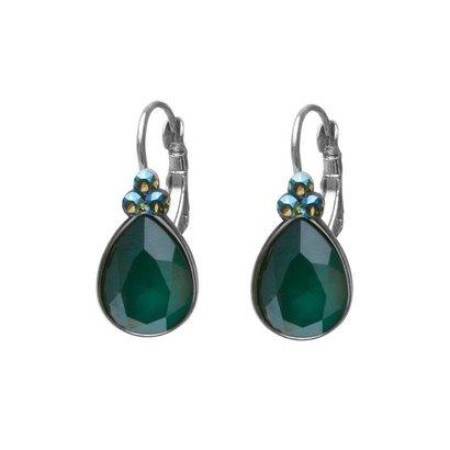 BIBA OORBELLEN Biba druppelvormige oorhangers  Goud of Zilverkleurig met Royal Green Swarovskisteen
