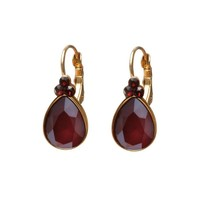 BIBA OORBELLEN Biba Drop shaped earrings with Swarovskist and Royal Red