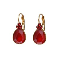BIBA OORBELLEN Biba Drop shaped earrings with Swarovskisteen Red
