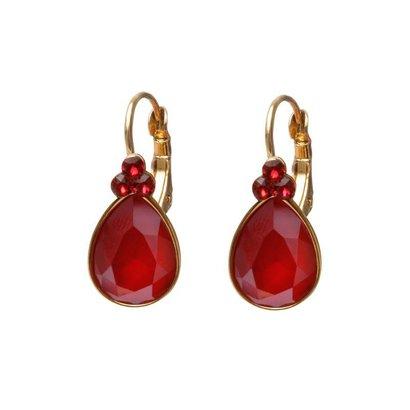 BIBA OORBELLEN Biba druppelvormige oorhangers  Goud of Zilverkleurig met  Red Swarovskisteen