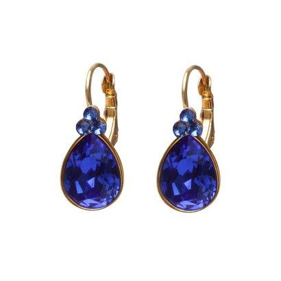 BIBA OORBELLEN Biba Tropfen Ohrringe Gold oder Silber mit Majestic Blue Swarovskisteen