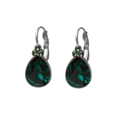 BIBA OORBELLEN Biba druppelvormige oorhangers  Goud of Zilverkleurig met  Emerald Swarovskisteen