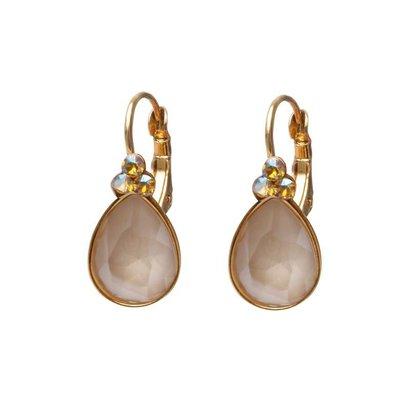 BIBA OORBELLEN Biba druppelvormige oorhangers  Goud of Zilverkleurig met Ivory Cream Swarovskisteen