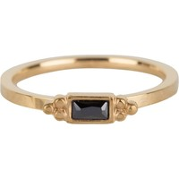 CHARMIN'S Charmins ring Rectangel Gold Steel BLACK CZ
