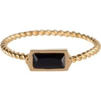 CHARMIN'S Charmins ring Turned Gold Steel BLACK CZ Rectangel