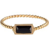 CHARMIN'S Charms ring Turned Gold Steel BLACK CZ Rectangel