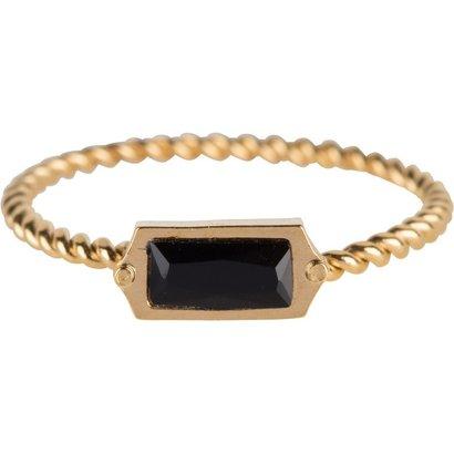 CHARMIN'S Charmins Shiny Gedrehter Goldstahl Charms Rechteck Goldstahl R632 von der Modeschmuckmarke