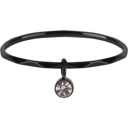 CHARMIN'S Charmins Dangling CZ Black steel  R579  van het fashion sieradenmerk Charmin's.