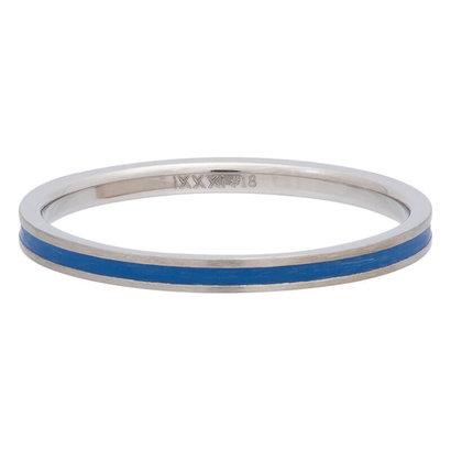 iXXXi JEWELRY iXXXi Unterlegscheibe 0,2 cm Line Blue aus silberfarbenem Edelstahl