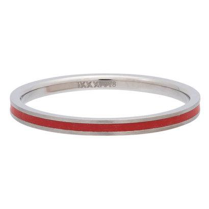 iXXXi JEWELRY iXXXi Unterlegscheibe 0,2 cm Line Red aus silberfarbenem Edelstahl