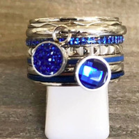 IXXXI JEWELRY RINGEN iXXXi COMBINATIE RING 14mm ZILVER  1064 CAPRI BLUE