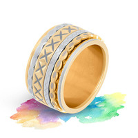 IXXXI JEWELRY RINGEN iXXXi COMBINATIE RING 12mm ZILVER  1068 WAVE SHAPE GOLD