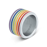 IXXXI JEWELRY RINGEN iXXXi COMBINATIE RING 14mm ZILVER  1069 RAINBOW SILVER