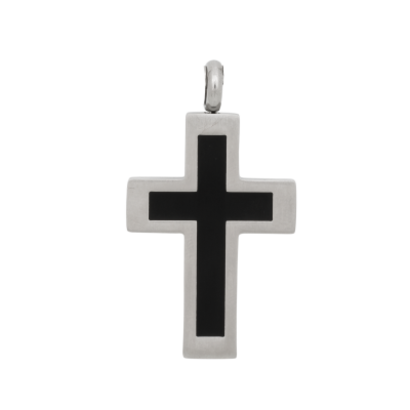 iXXXi JEWELRY MEN iXXXi JEWELRY MEN PENDANT CROSS BLACK SILVER STAHL