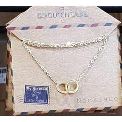 GO-DUTCH LABEL Go Dutch Label Edelstalen Ketting Kort Mini Cirkels Goudkleurig