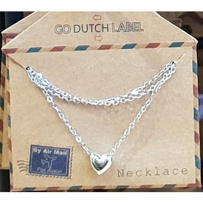 GO-DUTCH LABEL Go Dutch Label Edelstalen Ketting Kort Mini Bol Hartje Zilverkleurig