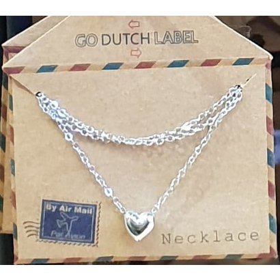 GO-DUTCH LABEL Go Dutch Label Stainless Steel Necklace Short Mini Sphere Heart Silver colored