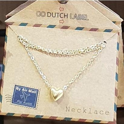 GO-DUTCH LABEL Go Dutch Label Edelstalen Ketting Kort Mini Bol Hartje Goudkleurig