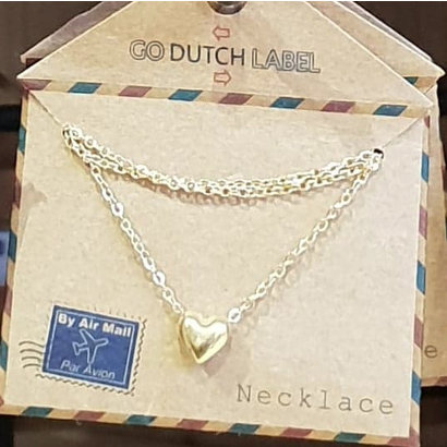 GO-DUTCH LABEL Go Dutch Label Stainless Steel Necklace Short Mini Sphere Heart Gold