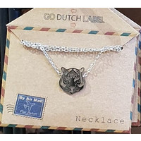 GO-DUTCH LABEL Go Dutch Label Necklace Tiger head Silver colored