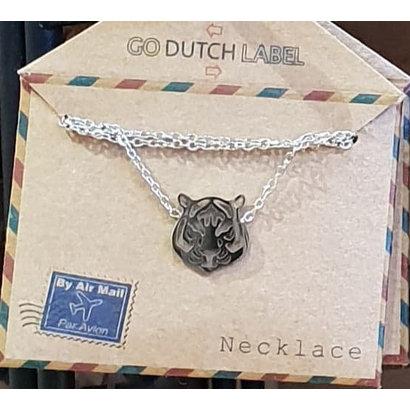 GO-DUTCH LABEL Go Dutch Label Edelstahlhalskette Kurzer Tigerkopf Silberfarben