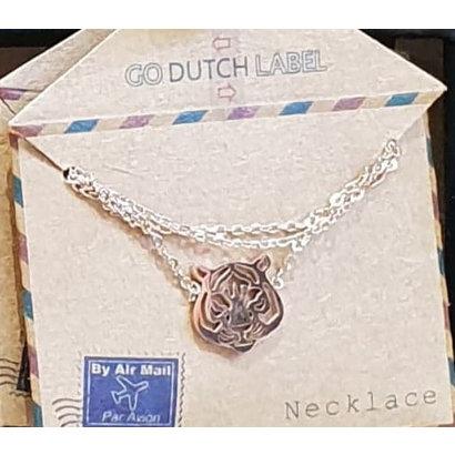 GO-DUTCH LABEL Go Dutch Label Edelstalen Ketting Kort Tijgerkop Rosegoudkleurig