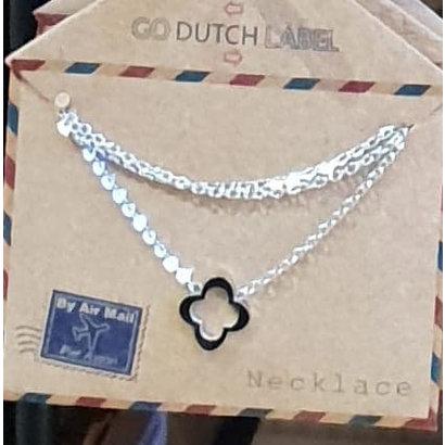 GO-DUTCH LABEL Go Dutch Label Edelstalen Ketting Kort Open Klaver Zilverkleurig