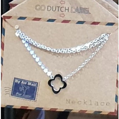 GO-DUTCH LABEL Go Dutch Label Stainless Steel Necklace Short Open Clover Silver colored