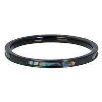 iXXXi JEWELRY iXXXi Vulring 2mm. ABALONE Schelp Zwart Stainless steel