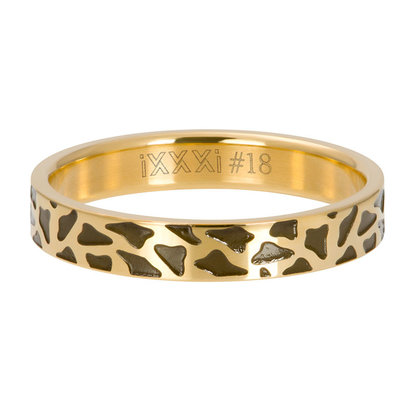 iXXXi JEWELRY iXXXi Vulring 4mm  PANTER Goudkleurig  stainless staal
