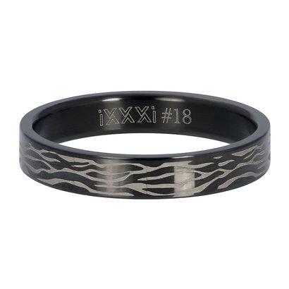 iXXXi JEWELRY iXXXi Vulring 4mm  ZEBRA Zwart  stainless staal