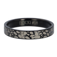 IXXXI JEWELRY RINGEN iXXXi Vulring 4mm Panter Stainless steel Zwart