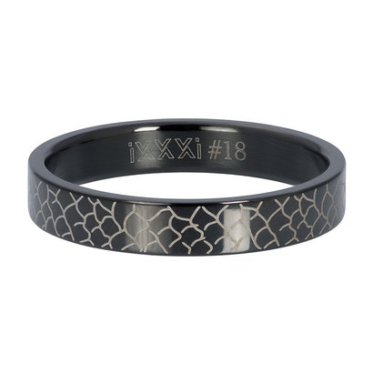 iXXXi JEWELRY iXXXi Vulring 4mm  Snake  Zwart  stainless staal