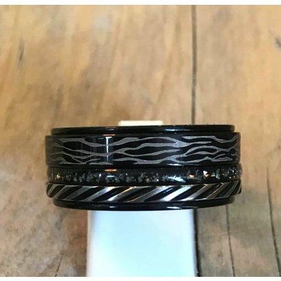 IXXXI JEWELRY RINGEN iXXXi COMBINATION RING 10mm BLACK 1075 BLACK ZEBRA