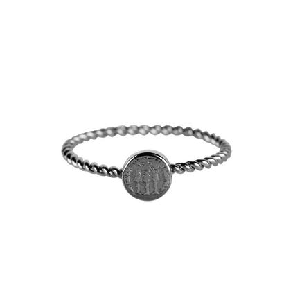 CHARMIN'S Charmins Twisted Historic Coin Glänzender Silberstahl R626 der Modeschmuckmarke Charmin's.