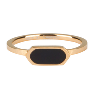 CHARMIN'S Charmins Ring Squared Oval Schwarz Shiny Steel Gold