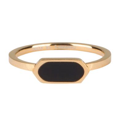 CHARMIN'S Charmins Fashion Seal Squared Oval with black Stone  Shiny Gold steel  R672  van het fashion sieradenmerk Charmin's.