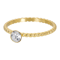 IXXXI JEWELRY RINGEN iXXXi Washer 2mm. Ball with Crystal Stone Gold plated Stainles steel