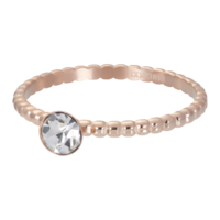 IXXXI JEWELRY RINGEN iXXXi Washer 2mm. Ball with Crystal Stone Rose gold plated Stainles steel