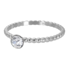 IXXXI JEWELRY RINGEN iXXXi Vulring 2mm. Ball with Crystal Stone Zilverkleurig Stainles steel